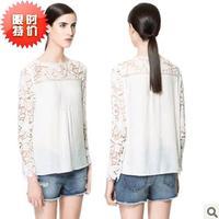 Exclusive!! S-XXXL,Hot Sale New Fashion Women LACE high quality elegant chiffon Blouse PLUS SIZE (2014)