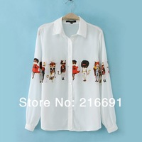 2014 new fashion Europe women stylish cartoon printed chiffon blouse Long sleeve ladies' casual street clothes#E104