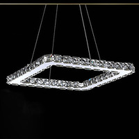LED Crystal Chandelier, Modern Square Stainless Steel Plating