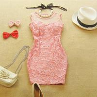 Summer women's elegant gauze sexy low-cut lace racerback cutout slim hip tight fitting pad one-piece dress evening dress