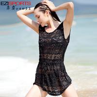 Free Shipping Female swimwear sexy cutout sunscreen one piece dress shirt ezi5093