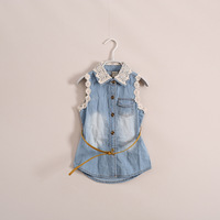 2014 New  Fashion  girl  denim dress   children clothes with lace collar   very good quality  have age 2 - 8