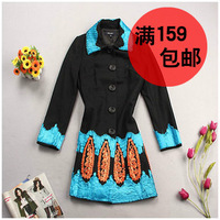 Disk flowers woolen overcoat outerwear women's