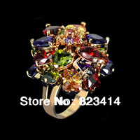 18K Rose Gold Plated Rhinestone and Multicolor Cubic Zircon Dangled Cocktail Austrian Crystal Ring Round Jewelry FREE SHIPPING