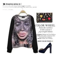 Fashion women's fan 3D digital print lace vintage lady pullover women's t-shirt