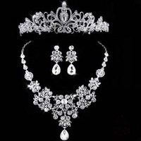 Luxury Silver Plated Bridesmaid Wedding Decoration Jewelry Hollow Shiny Water Drop Crystal Tiara Crown Necklace Earring Set