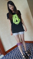 New in 2014 brand fashion Eland  female neon glue tiger print t-shirt all-match loose casual t-shirt  man woman freeshipping