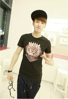 New in 2014 brand fashion O-neck short t tiger print personality casual short-sleeve T-shirt  man woman freeshipping