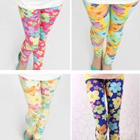 2-7T flower print girl legging children pants girls clothes free shipping retail