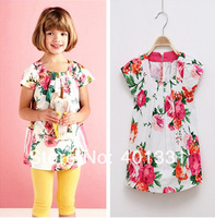 2014 New Arrival girl's dresses European children designer dress, flower american girls dress, high quality kids dress for girl