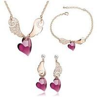 Love Of Angel Wings Crystal Bridal Jewelry Sets Hotsale Heart Pendant Necklace+Earrings+Bracelet Suit Cheap Jewelry Wholesale