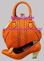 FREE SHIPPING!New arrival fashion nice matching shoe and bag set  EVS239 orange size 38 to 43 for retail and wholesale