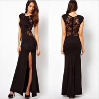 2014 New women's Fashion European Slim Sexy hollow behind Lace Sleeveless Long Formal Dress vestidos de fiesta Free shipping