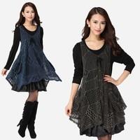 New 2014 women fashion dress good quality large size tow piece Spring 2014 girls elegant dresses casual dress M-4XL