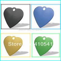 Hot selling Free Shipping Wholesale 35*32MM Mix Colors 200pcs/lot  Heart Shape Pet Tags Aluminum Pet Id Tag Dog Tags Pet Pendant