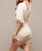 Wholesale sexy nightclub Falbala chiffon sleeves Low v-neck package buttocks chiffon women dress