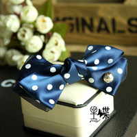 Black high quality handmade bow hairpin hair accessory hair accessory brief elegant blue and white plum sugar