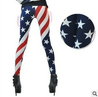 The new spring and summer 2014 nine points leggings American flag horizontal stripes of stars