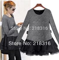 Spring 2014 autumn and winter one-piece dress female women's plus size fashion set chiffon long-sleeve basic