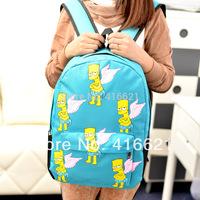 Free shipping  2014 hot Fashion women girl lovely school print cartoon simpson HARAJUKU joyrich girl simpsons bart man backpacks