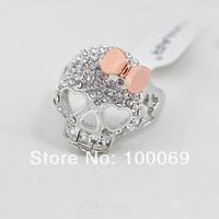 Min.order is $15 (mix order) Hot Sell Fshion Gold Skull Bowknot Rhinestone Finger Ring & Skeleton Rings R2943