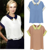 Hot sale New 2014 Summer Short Sleeve Paillette Collar Turn-down Collar Patchwork T-shirt Shirt Blouse WF-447
