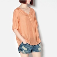 Fashion summer silk cotton shirt loose t-shirt half sleeve female