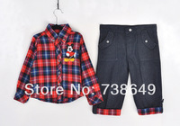 2014 New style Fashion Baby Suit Boys Clothing Sets Kids long Sleeve Children Clothing Sets 2 pieces:tops shirt +jean pants