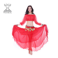 2014 New Upscale Chiffon Velvet 3 Pics Top&Skirt&Waist Chain India Dance Belly Dance Costume ,6 Colors TP 1571