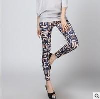 The new autumn outfit 2014 milk silk printed graffiti leggings nine minutes of pants European and American fashion leggings
