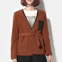 Fashion women's woolen outerwear autumn and winter patchwork top