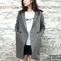O-mei fashion thin woolen outerwear overcoat medium-long suit