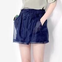Summer women's elegant silk short skirt organza bust skirt