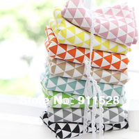 "8pcs/lot Assorted Color Korean Hot Sale Triangle Print Linen-cotton Blended Sofa Curtain Bag Fabric - 45x50cm/ 17.7""x19.7"""