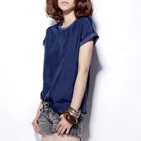 Fashion summer silk mulberry silk patchwork 100% cotton loose top women's short-sleeve T-shirt