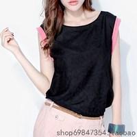 Women's 2013 silk cotton color block top short-sleeve T-shirt Women