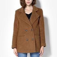Elegant brief woolen overcoat women's outerwear