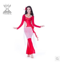 2014 New Upscale Water Yarn Diamond Hemp 3 Pics Top&Pants&Belt Belly Dance Practice Clothes Suit,9 Colors TP 2152