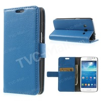 Blue Litchi Leather Credit Card Wallet Leather Case Stand For Samsung Galaxy Express 2 II G3815 Free Shipping
