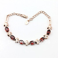 Romantic style newest 925 sterling silver rose gold  bracelet for women made with natural Brazil 3A garnet