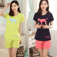 New 2014 Summer women's pajamas set Lycra Cotton cartoon cute puppy short sleeve sleepwear for women pyjamas pink Lounge 4 color