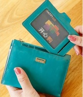 New 2014 fashion 5 cards 1cash leather plug-in women's short design wallets purses short wallets carteira feminina,Free Shipping