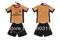 2013-2014 season AC milan 3rd gold kids soccer jersey  italy team kids   free shipping