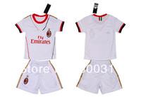 2013-2014 season AC milan away white kids 45# BALOTELLI  soccer jersey  with shorts italy team kids  free shipping