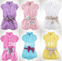 New Baby romper polo baby One-Piece romper short sleeve one-piece Girl's romper with belt baby jumpsuit 5 colors
