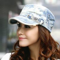 Brand 2014 New Men's Outdoor cap hat female autumn female Korean tidal flat cap sun hat Korea rivets cowboy hat Free Shipping