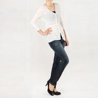 Slim women's three quarter sleeve V-neck sweater solid color cardigan c