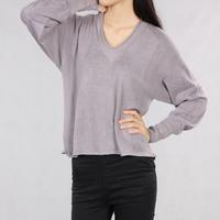 Women's batwing long-sleeve type retro finishing V-neck 100% cotton pullover sweater plus size c