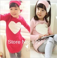 1set New Free shipping piece/lot 2013 autumn child female child long-sleeve T-shirt trousers hair accessory set love set