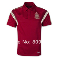 Top Thailand quality  2014e World Cup  Spain  polo socce red  polo Spain  socce Espana  polo embroidery logo free shipping